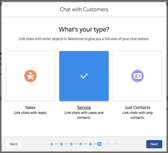 Service selected as Chat type.