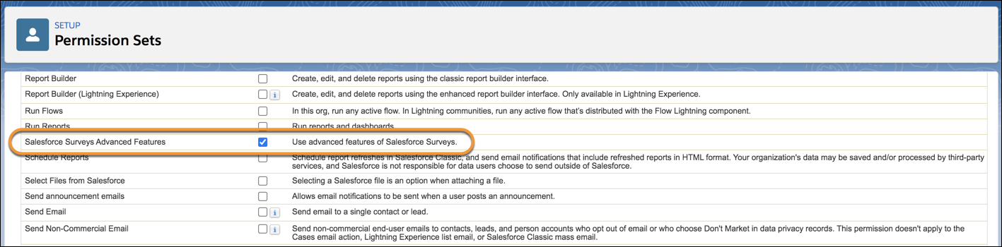 The Salesforce Advanced Features permission enabled in a permission set.