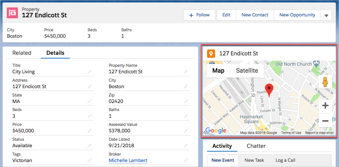 Map component on property record page