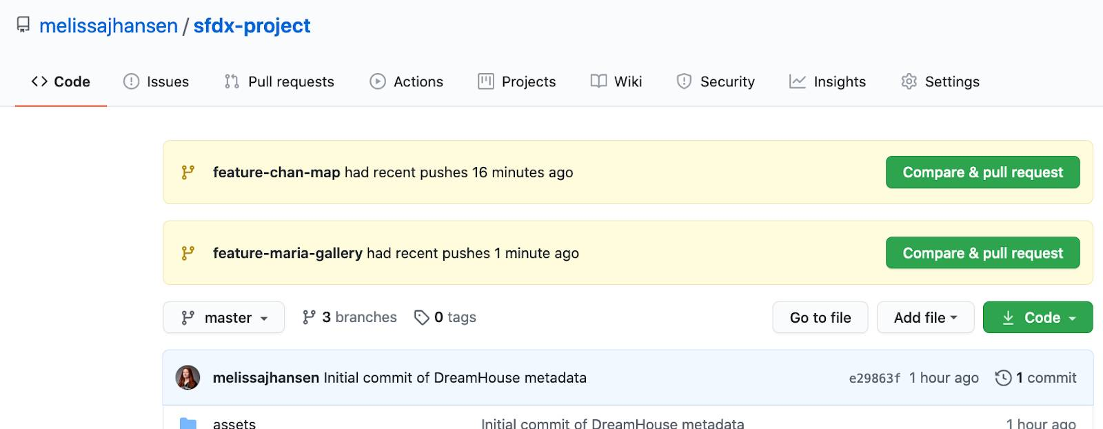 The GitHub interface, showing the Compare & pull request button.