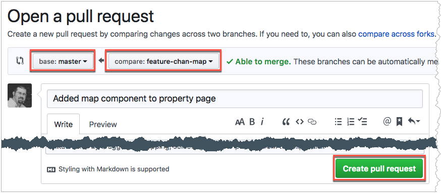 Selecting branches to create a pull request on GitHub
