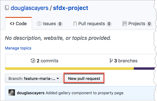 """""""New pull request"""" button on GitHub project page"""