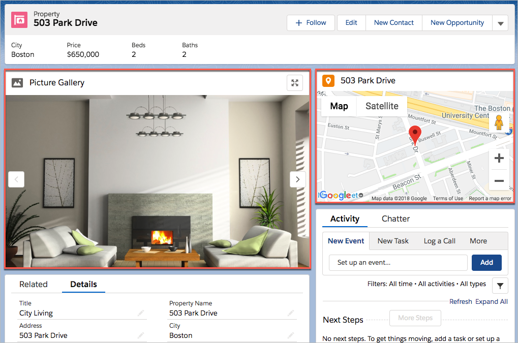 Gallery and map components on property record page