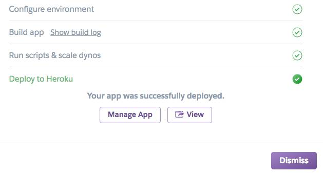 """Screenshot of a completed deployment with two buttons. One labeled, """"Manage App"""" and the other labeled, """"View""""."""