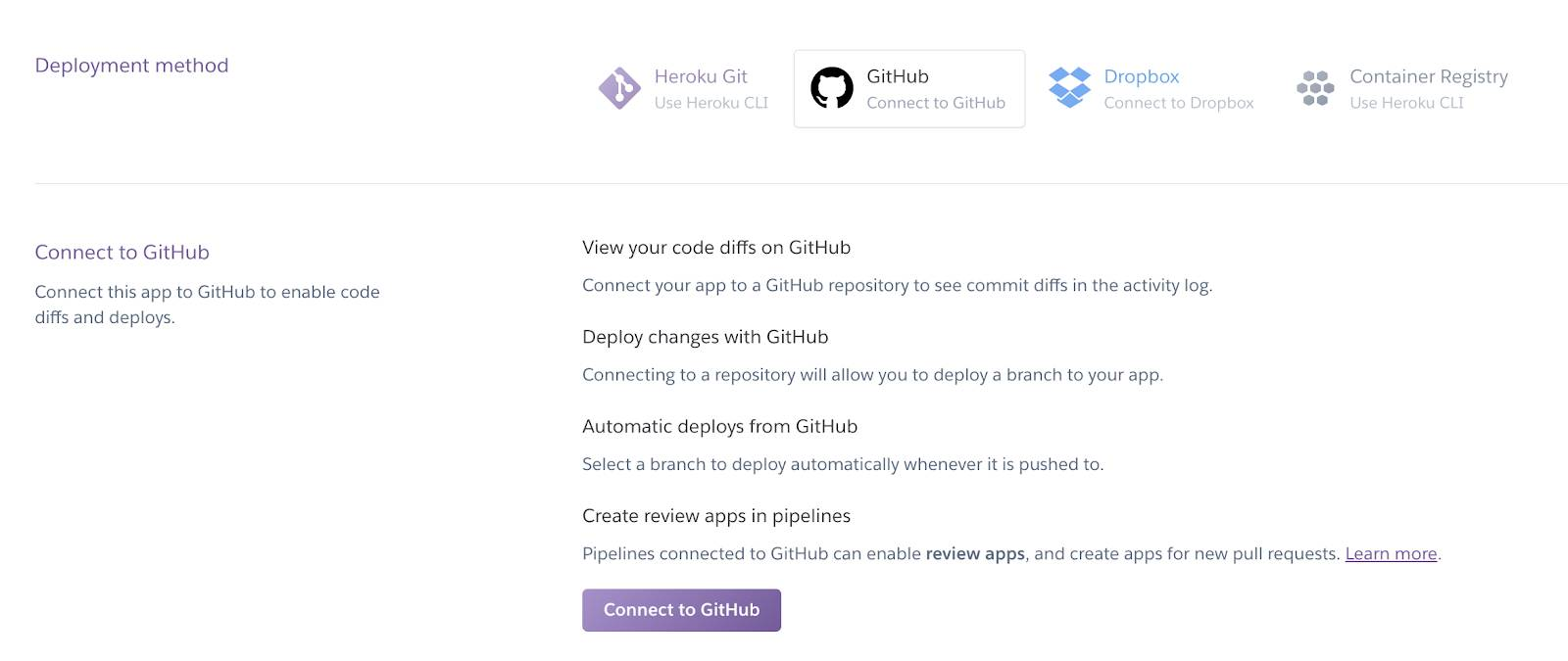 Screenshot of the Heroku Dashboard Connect to GitHub configuration section.