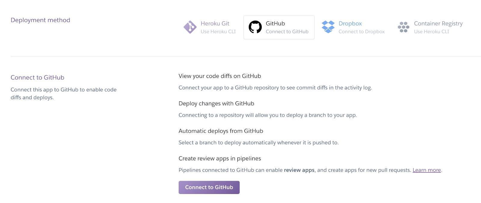Screenshot des Heroku-Dashboards und seines Konfigurationsabschnitts 'Connect to GitHub'