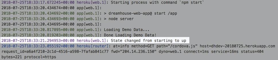 Captura de tela de Registros do Heroku com a seguinte mensagem de registro destacada,