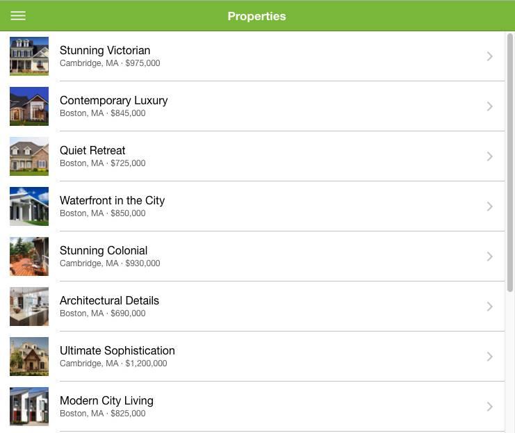 Captura de tela do aplicativo da web Dreamhouse com uma lista de todas as 12 propriedades armazenadas no Heroku Postgres. Ela exibe a imagem da propriedade, o nome da propriedade, a localização e o preço.