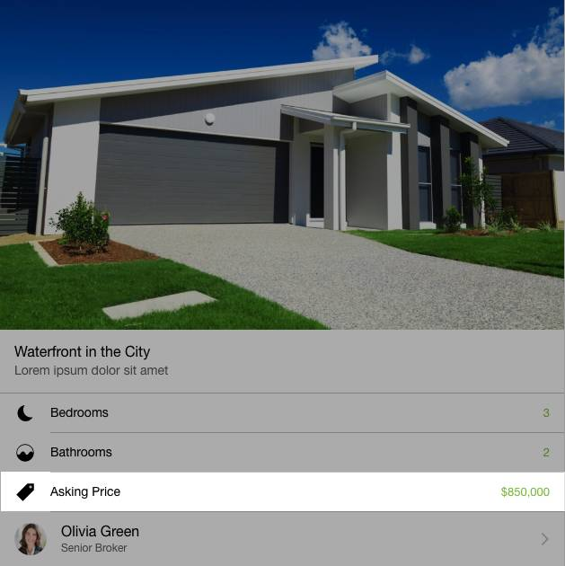 Screenshot highlighting the Asking Price ($850,000) for Waterfront in the City.