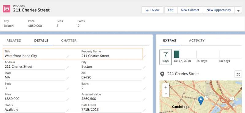 Waterfront in the City (市街のウォーターフロント) の Property (物件) レコードのスクリーンショット。物件の [Title (タイトル)] と [Property Name (物件名)] (211 Charles Street) が強調表示されています。