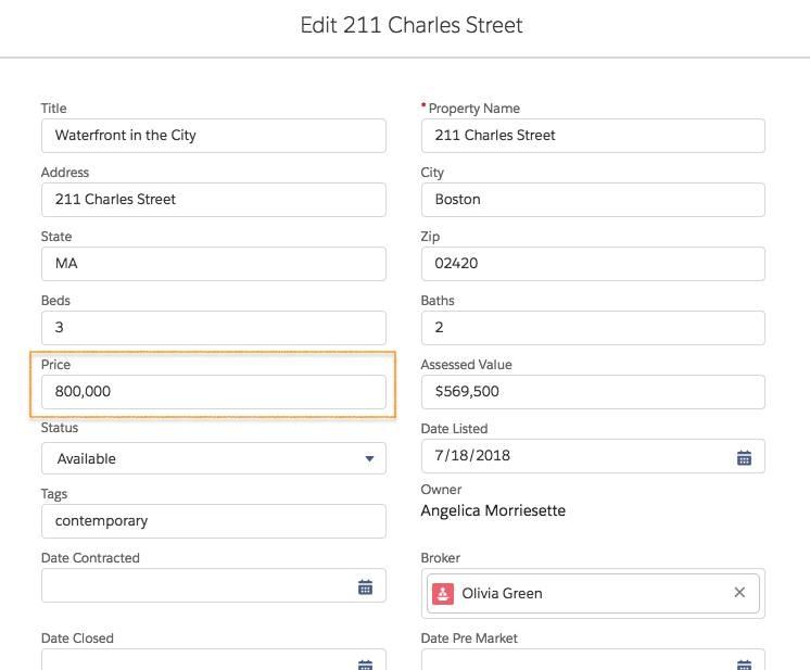 Captura de tela das opções de edição. O campo Price (Preço) está selecionado e 800,000 está digitado na respectiva caixa de texto.