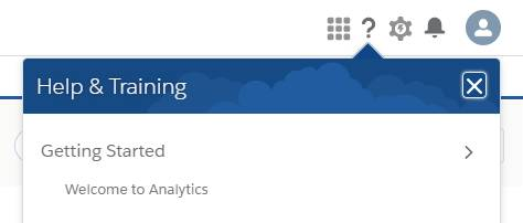 To open Welcome screen in Analytics Studio, click question-mark icon to open Help menu, and click Welcome to Analytics