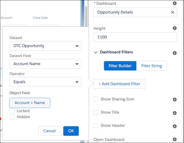 Location of Filter Builder in properties list