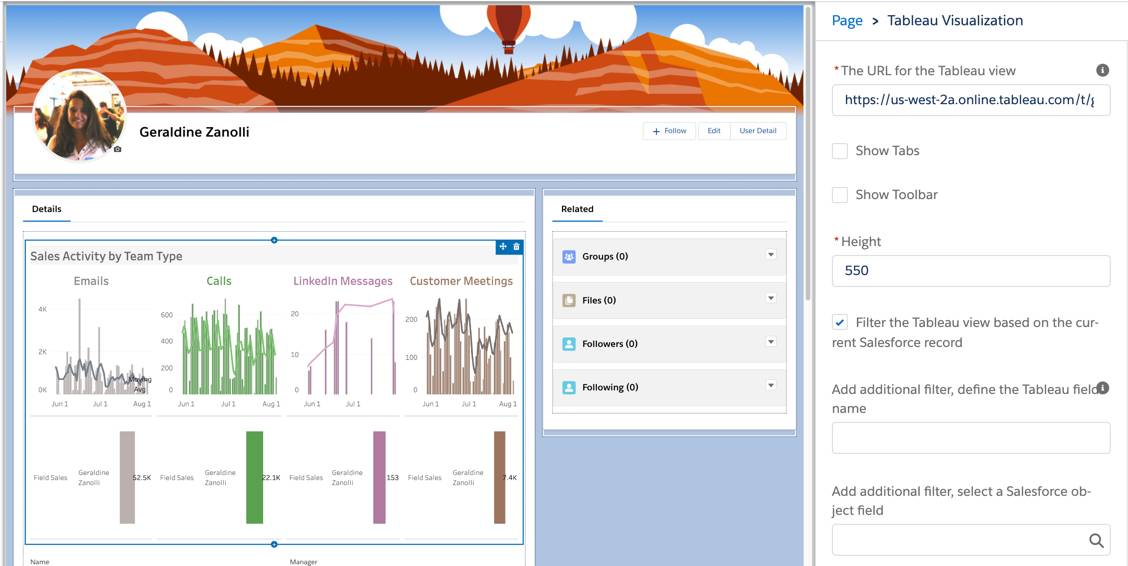 Tableau view with in-context filter applied