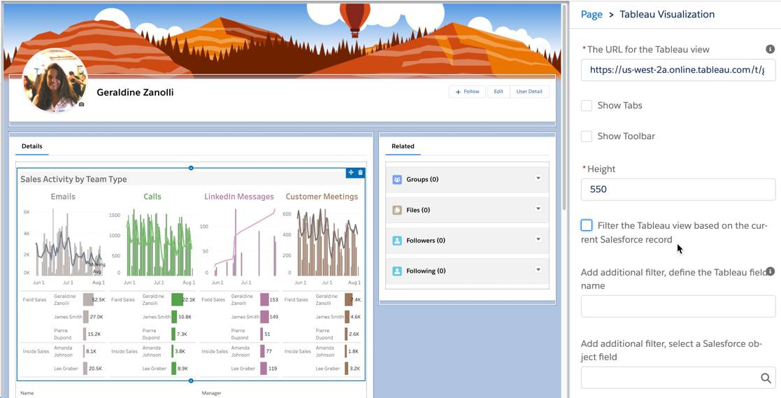 Tableau view without filters