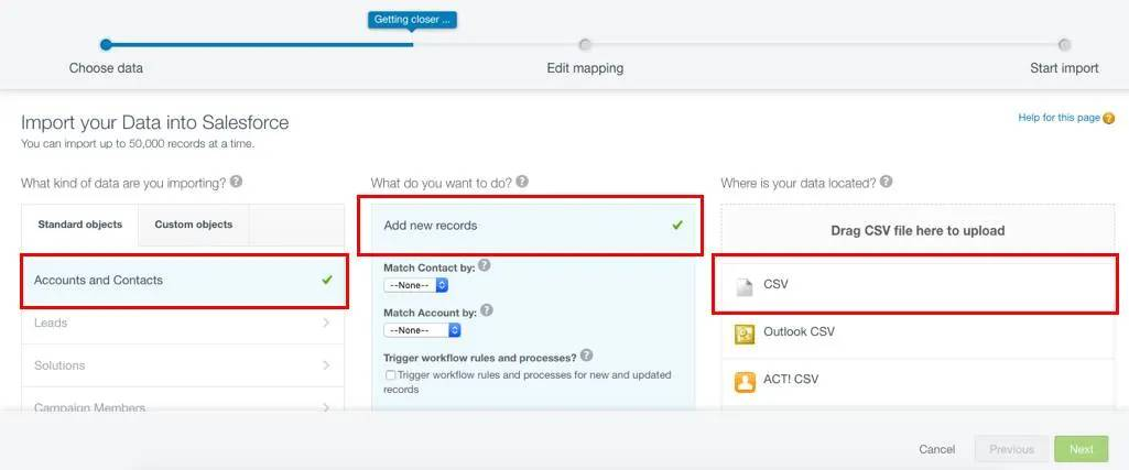 Import your data into Salesforce screen, with the selections mentioned above highlighted by red boxes