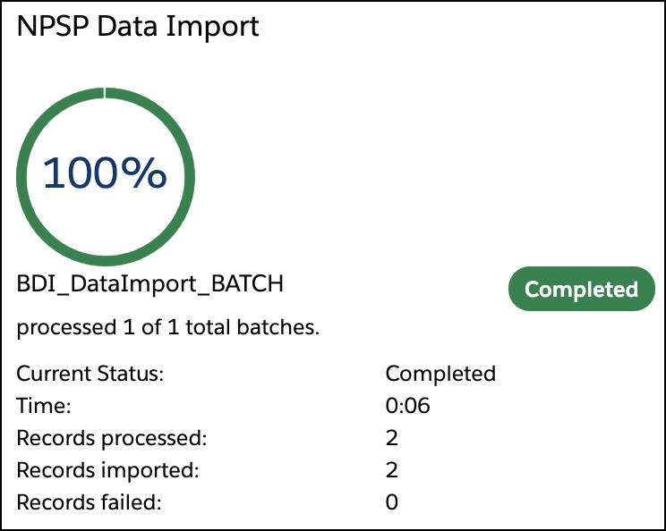The NPSP Data Import status