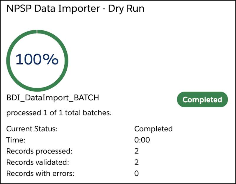 NPSP Data Importer - Dry Run results