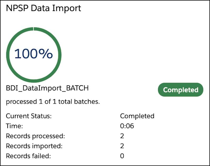 The data import results