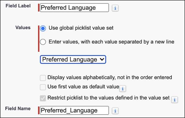 The preferred language label and values in setup