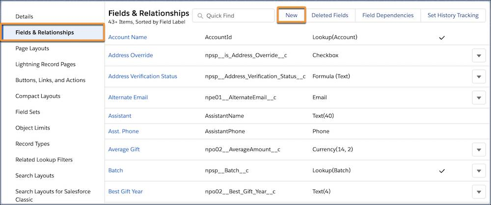 The Fields & Relationships list on the contact object