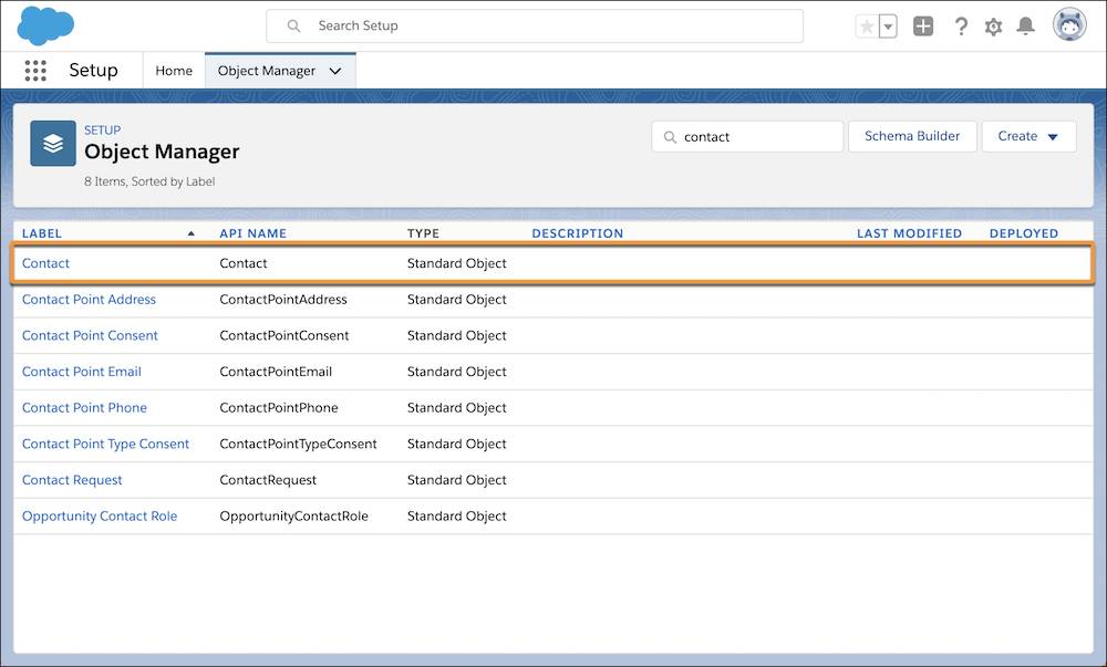 The contact label in the Object Manager