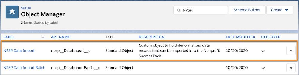 The NPSP Data Import object in the Object Manager
