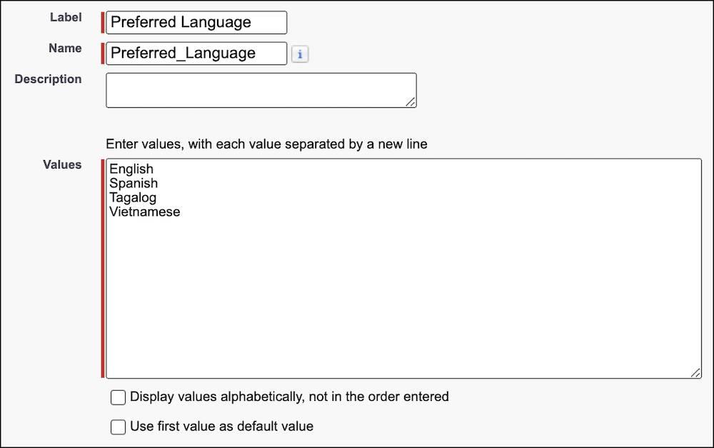 The picklist value set interface