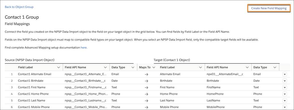 The Contact 1 Group with Create New Field Mapping button
