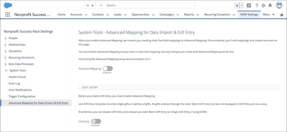 The Advanced Mapping for Data Import & Gift Entry page