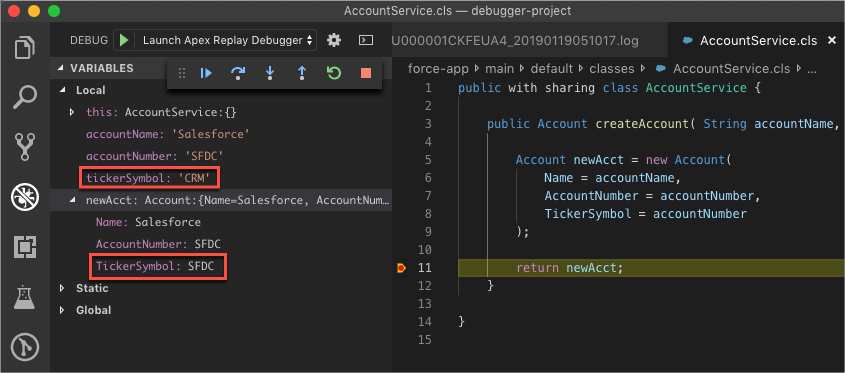 Debug session paused at line in AccountService.cls in Visual Studio Code