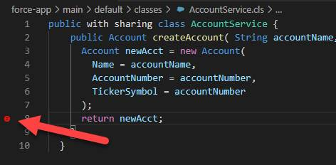 Checkpoint set on line in AccountService.cls in Visual Studio Code