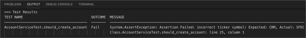 Apex test result displaying failure message in Visual Studio Code