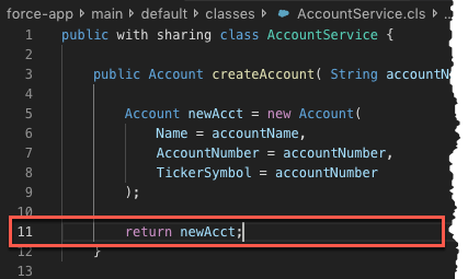 Cursor focused on line where to add checkpoint in AccountService.cls file in Visual Studio Code