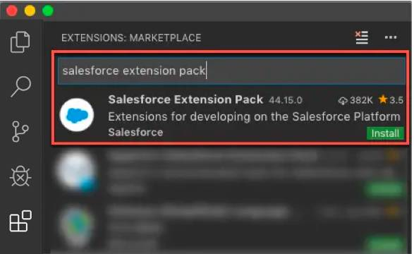 Installing Salesforce Extension Pack for Visual Studio Code