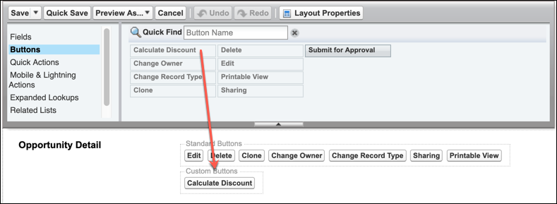 A view of the Opportunity Layout screen showing users where to drag the Calculate Discount button
