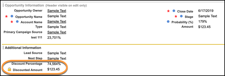A view of the two fields added to the opportunity page layout with Discount Amount and Discount Percentage highlighted