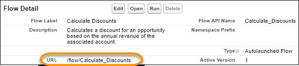 フロー URL が強調表示された [Flow Detail (フローの詳細)] 画面のビュー