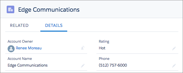 A view of the account details for Edge Communications