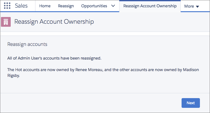 The confirmation screen telling the user that the accounts have been successfully reassigned