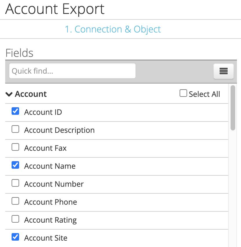 Account fields selected