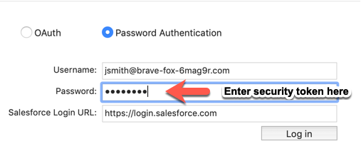 A screen shot showing the Data Loader Password Authentication login page.  It has an arrow pointing to the end of the typed password with the text Enter security token here.