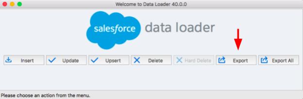 Data Loader Export Arrow Screenshot