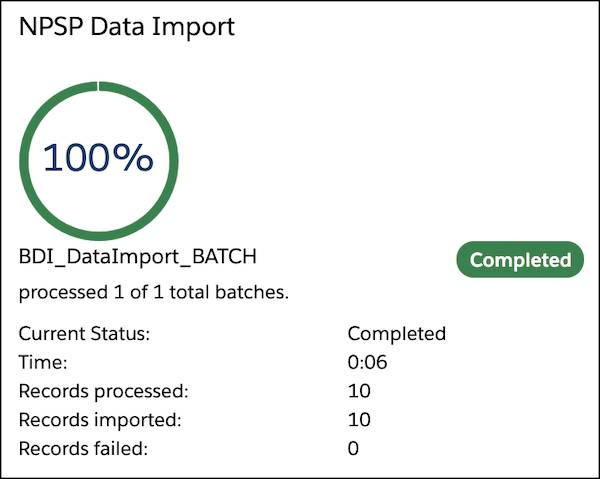 The NPSP Data Import status indicating completed with 10 records processed, 10 records imported, and 0 records failed.