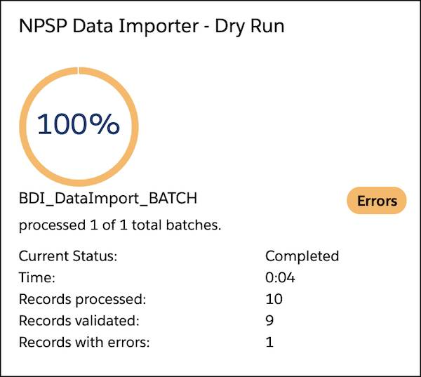 "The ""NPSP Data Importer - Dry Run"" status page."