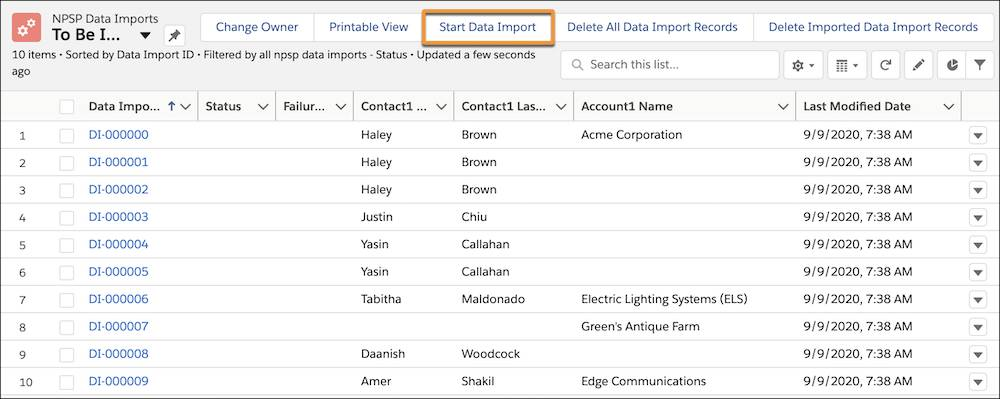 The Start Data Import button on the NPSP Data Imports page