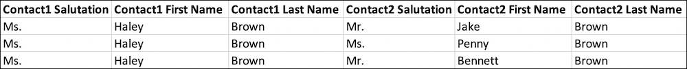 Spreadsheet with three rows where Haley Brown is Contact1, each with a different name in Contact2