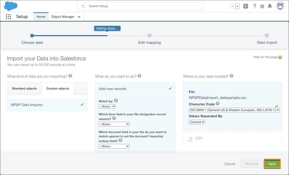 The Import your Data into Salesforce page, with the upload file selected and the Next button highlighted