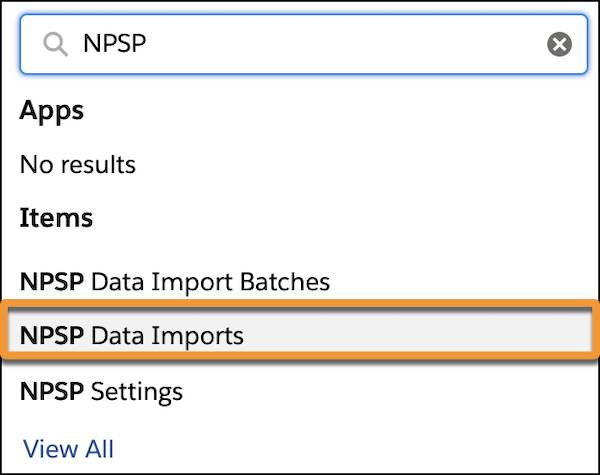 The App Launcher menu with NPSP in the search field and NPSP Data Imports highlighted