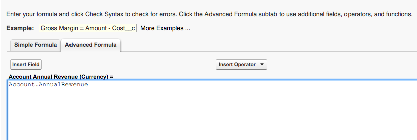 Annual Revenue Opportunity Object Formula Screenshot
